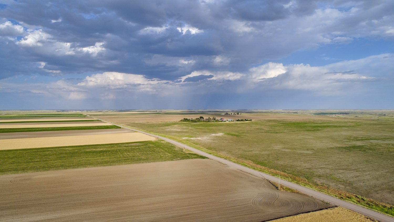 Rural Nebraska Landscape In Aerial View